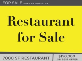 7000 SF Restaurant permitted for 170 patrons